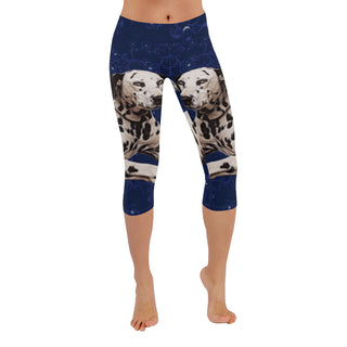 Dalmatian Lover Low Rise Capri Leggings (Invisible Stitch) (Model L08) - TeeAmazing