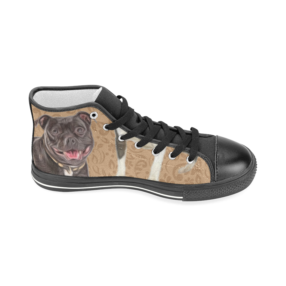 Staffordshire Bull Terrier Lover Black Men's Classic High Top Canvas Shoes - TeeAmazing