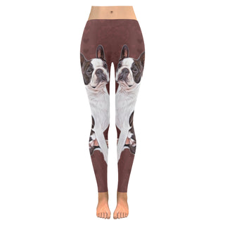 Boston Terrier Lover Low Rise Leggings (Invisible Stitch) (Model L05) - TeeAmazing