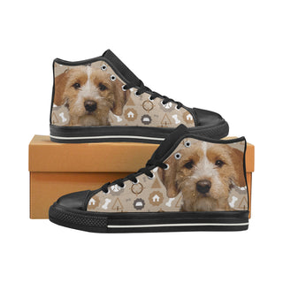 Basset Fauve Dog Black Women's Classic High Top Canvas Shoes - TeeAmazing