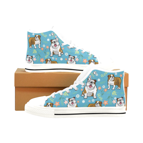 English Bulldog Flower White Men's Classic High Top Canvas Shoes /Large Size (Model 017) - TeeAmazing