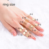9 Pcs Ring Set Gold Open Rings Crystal Stack Boho Rings Fashion Jewelry