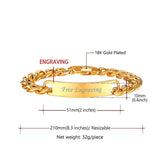 Personalized Bar Bracelet Free Engraving 18K Gold Plated Custom Name I