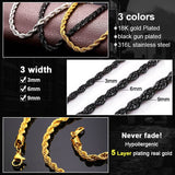 3MM/6MM/9MM Width Hip Hop Rope Necklace For Rapper Men Hippie Chain Long/Choker