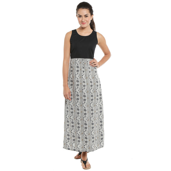 Loco En Cabeza Printed/Solid Sleeveless dress  CZWD0094