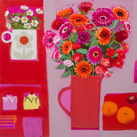 Emma Dunbar 'Camilla's Birthday Flowers' acrylic on board 61x61cm
