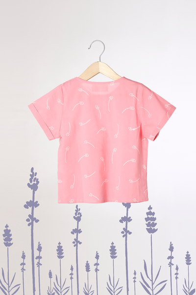 'Lavender for Luck' - Unisex Hidden Pocket Organic Cotton T-Shirt in Pink Floral