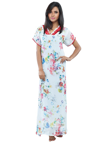 Juliet JRB10016 Women's Fancy Nighty,White Print