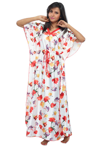 Juliet JRB10042 Women's Fancy Nighty,Cream Red Print