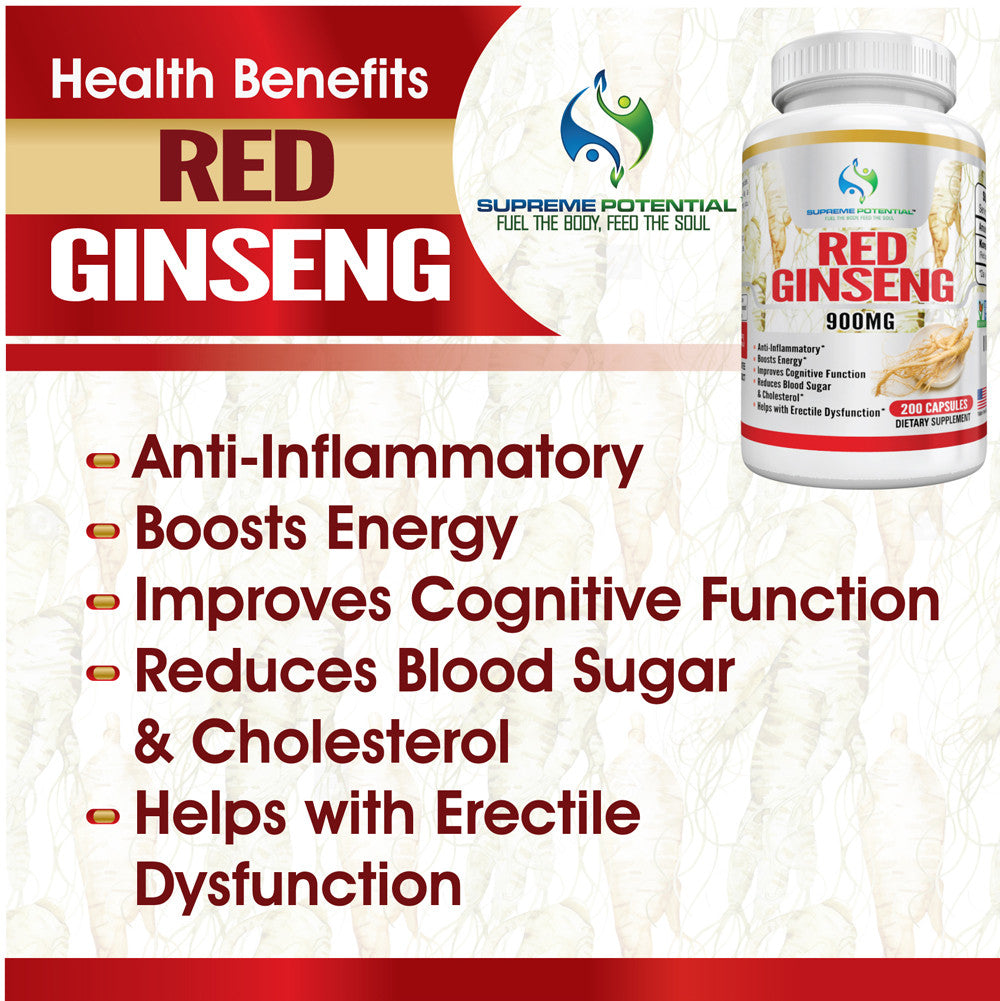 Red Ginseng 900mg, 200 Capsules