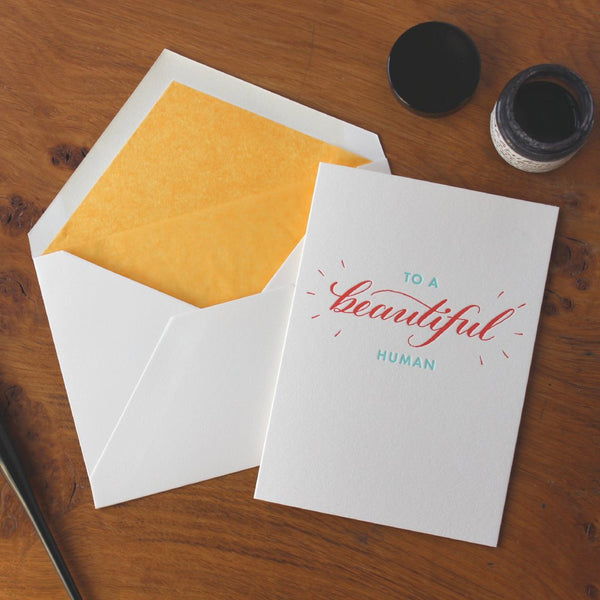Beautiful Human Letterpress Greetings Card