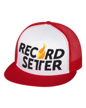 """Record Setter Logo"" Red and White Mesh Trucker Hat"
