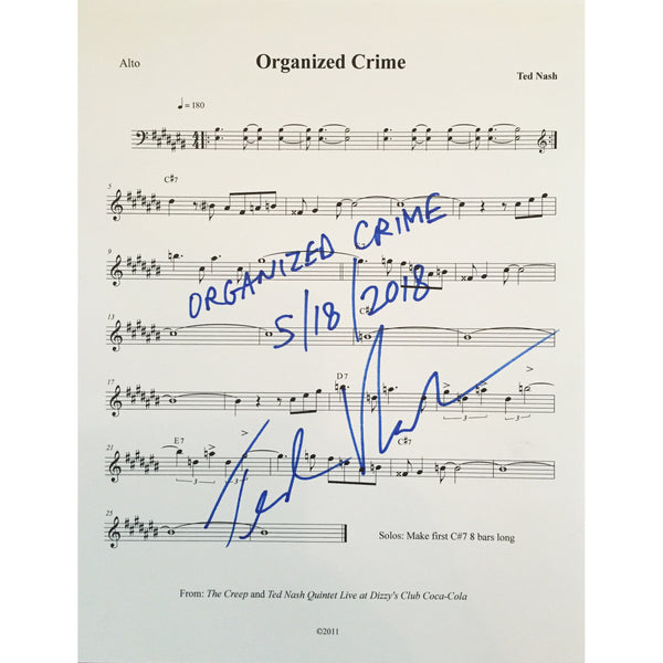 "Ted Nash - Autographed Sheet Music For ""Organized Crime"""