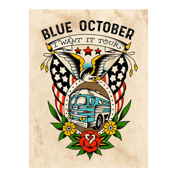 "Blue October - Custom Screen Printed ""I Want It"" Tour Poster"