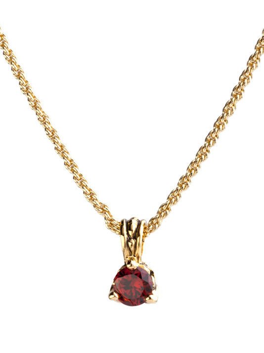 Beijos Collection 7mm Garnet CZ Gold Prong Set Pendant Necklace