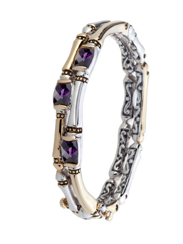 Cor Collection Two Row Hinged Bangle Bracelet with Amethyst CZ