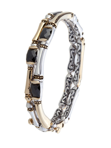 Cor Collection Two Row Hinged Bangle Bracelet with Black CZ
