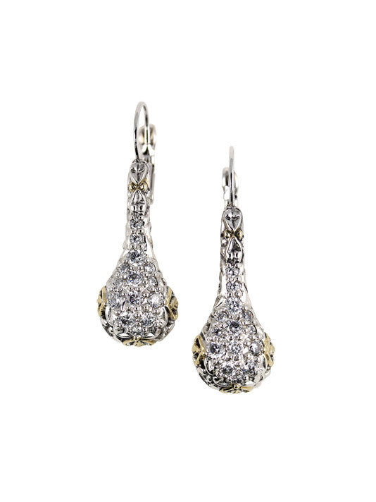 Lattice Collection - Palermo Edition - Pavé CZ Drop French Wire Earrings