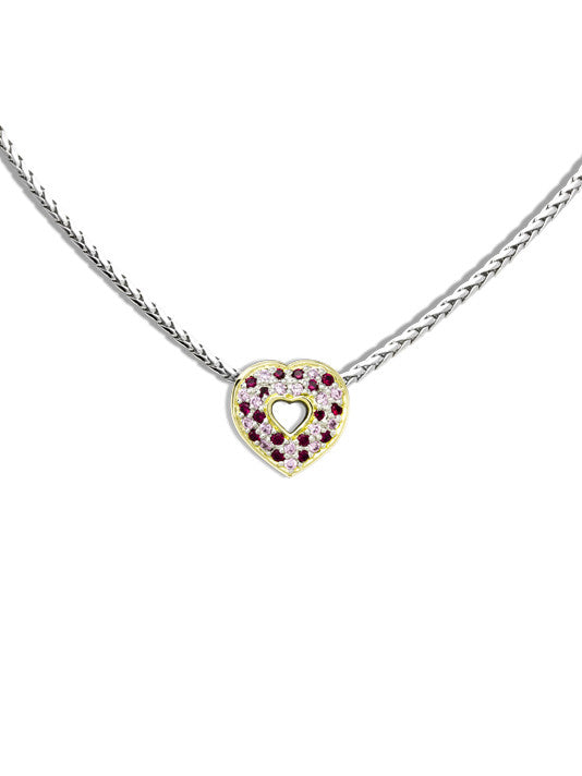 Pink & Garnet Heart Pendant with Chain by John Medeiros Jewelry Collections.