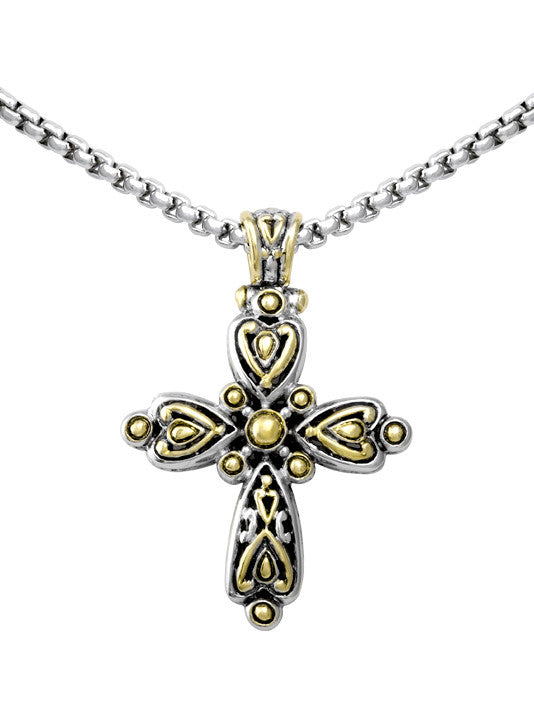 John Medeiros Celebration Collection Two Tone Cross Slider with Chain