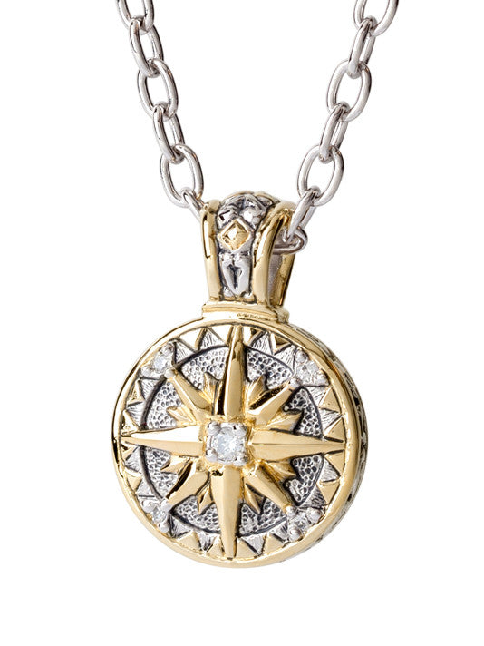 Ocean Images Seaside Collection CZ Compass with Chain