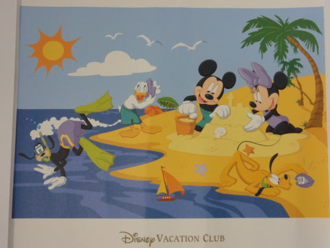 Disney Vacation Club DVC Exclusive FAB 5 Mickey, Minnie, Goofy, Donald, Pluto Beach Lithograph Art Print
