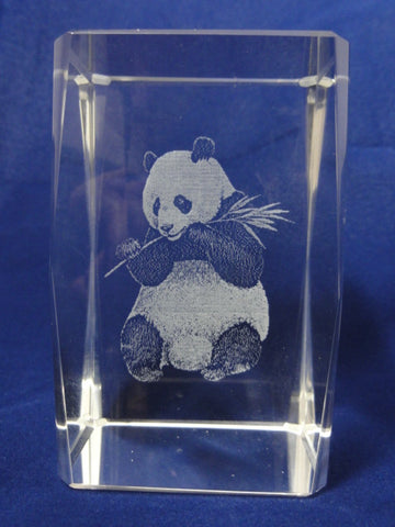 Disney Arribas Bros. PANDA BEAR Rare Animal Laser Etched Crystal Figure Cube