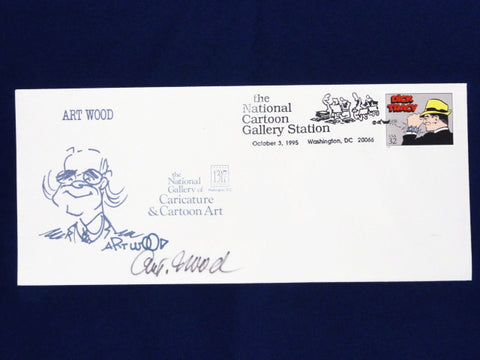 "National Gallery Of Caricature & Cartoon Art Vintage 1995 Limited Edition J. Arthur ""ART"" Wood SIGNED Envelope W/ DICK TRACY Stamp"