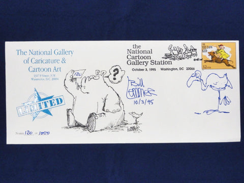 National Gallery Of Caricature & Cartoon Art Vintage 1995 Limited Edition BILL LEMMER SIGNED Envelope W/ ORIGINAL ARTWORK & YELLOW KID Stamp