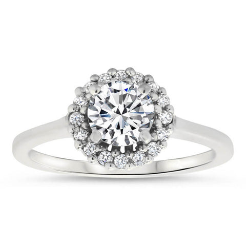 Diamond Halo Raised Moissanite Center Engagement Ring - Mint - Moissanite Rings