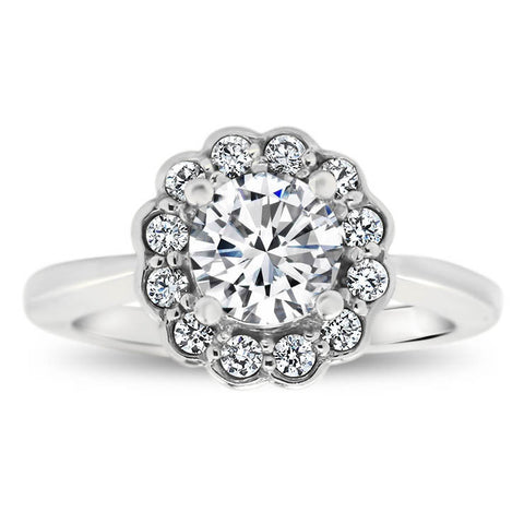 Floral Style Bezel Set Diamond Halo Moissanite Center Engagement Ring - Iris - Moissanite Rings