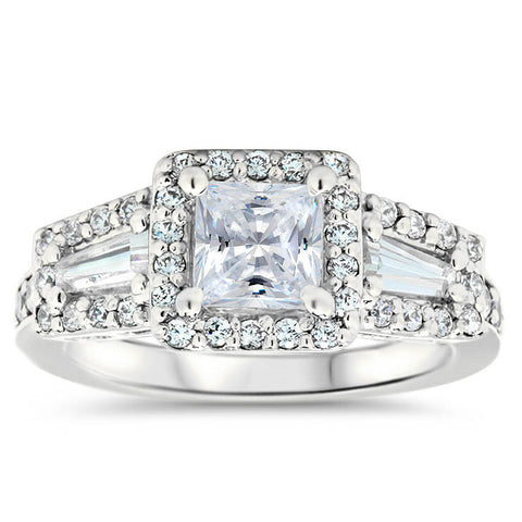 Vintage Style Moissanite Engagement Ring Halo With Diamond Baguettes - Whitney - Moissanite Rings