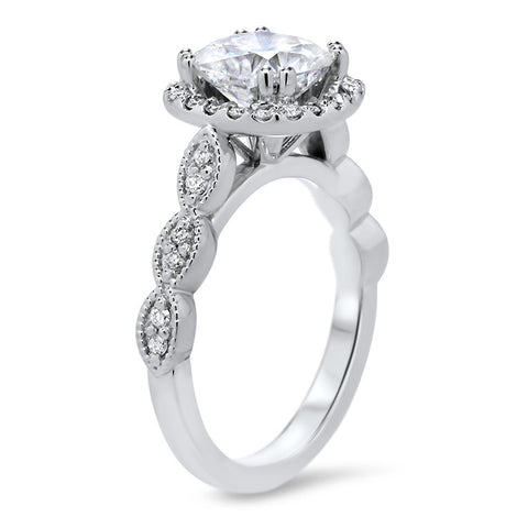Forever One Moissanite Engagement Ring Diamond Halo Setting - Sweetie - Moissanite Rings