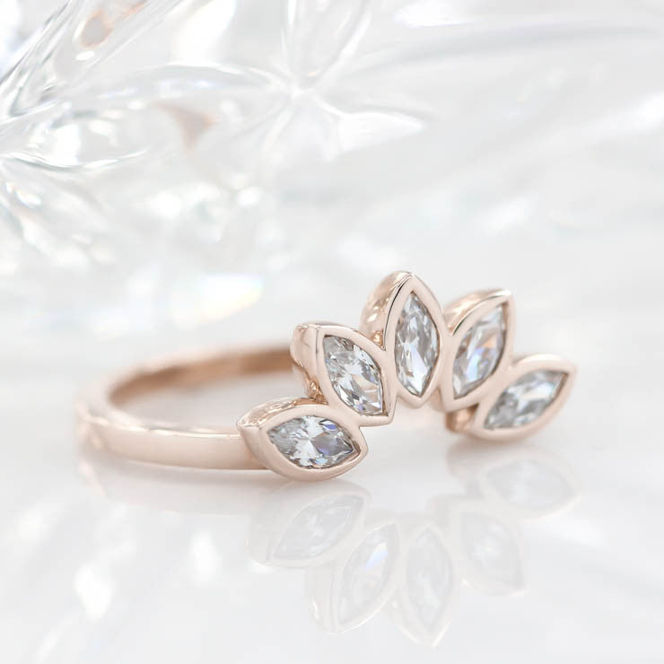 Diamond Marquise Wedding Band Curved Wedding Band Peacock Style Band - Paloma - Moissanite Rings