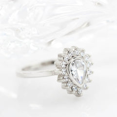 Diamond Halo Engagement Ring Moissanite Center Stone Pear Shape Moissanite Ring - Hannah - Moissanite Rings