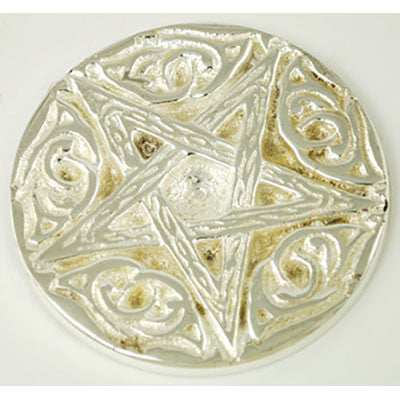 Altar Tile Pentagram Silver Plated 3""