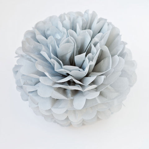 Large size cool grey tissue paper pom pom
