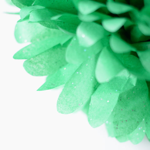 Emerald green with silver diamonds tissue paper pom poms