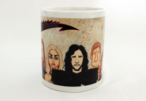 Jon Snow and Khaleesi in Game of Thrones tribute art on Coffee Mug by Graphicurry, art by Prasad Bhat.