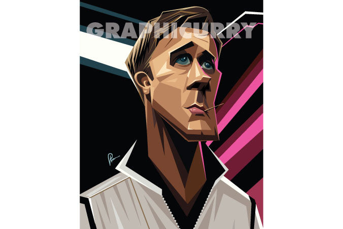 Ryan Gosling's angular view caricature drawn with sharp lines and angular gradient elements . Artwork by Prasad Bhat
