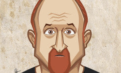 Louis CK Comedian Caricature Art Thumbnail by Prasad Bhat