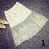 Women Lady Lace Slip Skirt Extender Knee Length A-Line Floral Underskirt Petticoat Fashion New White Black 904-733