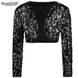 Vintage Women Cropped Blazer Bolero Shrug Clubwear Party Costumes Shiny Sequin V-Neck Short Vest Sexy Cardigan Jacket Coat