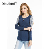 Dioufond Lace Solid Blusa Feminine Patchwork O-Neck Women's Blouse With Long Sleeves Women Top Casual Cotton Female Shirt Blusas