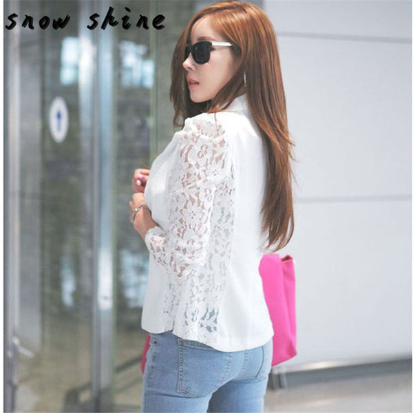snowshine YLS   1PC Sexy Women Long Sleeve Lace Crochet Blazer Small Blazer Jacket  free shipping