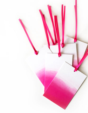 Hot Pink Ombre Gift Tag - Pack of 6