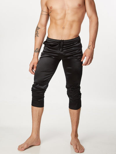 Men's Black Satin Leggings