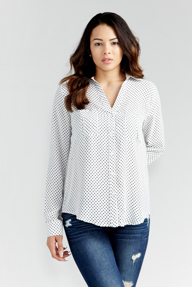 DAZZ: Polka Dot Office Blouse in White - Good Row Clothing  - 3