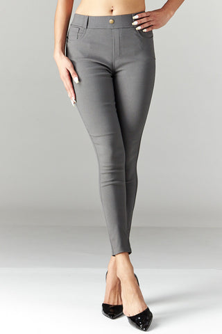 LARA: Solid Style Jeggings in Grey