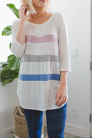 A Casual Day Striped Pocket Dress in Oatmeal